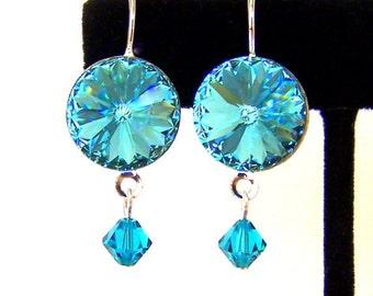 Light turquoise crystal earrings, Swarovski crystal turquoise Rivoli, bridal earrings, bridesmaids, sparkly dark aqua crystal earrings