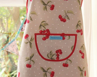 Life's a Bowl of Cherries - Cherry Print Apron.  Womens Full Apron