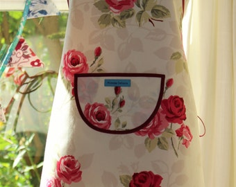 English Rose - Burgundy Edged, Floral Print Apron.  Womens Full Apron
