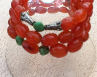 Set of 3 Chunky Carnelian Stretchy Bracelets Turquosie and Carnelian Stretch Bracelet Boho Jewelry Energy Stone Yoga Jewelry Womens Gift
