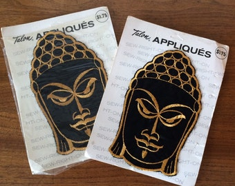 2 Vintage Asian Lady Oriental Princess Cloth Patch Appliqués for Sewing Clothing Jackets Jeans 60's Retro 70's