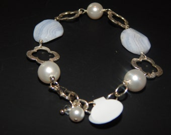 Blue Lace Agate and Pearl Bracelet