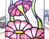 Stained Glass Ombre Pink Daisy Panel/Suncatcher...One of a Kind..Ready to Ship