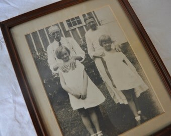 Grandparents With Grand Daughters Portrait/Vintage 1930s/Framed Photograph