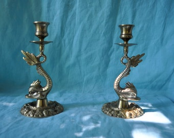 Pair of Dolphin Vintage Brass Candlesticks