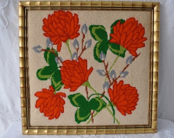 Vintage Clover Blossom Needlepoint Picture/Vintage 1970s/With Four Leaf Clover/Good Luck Gift