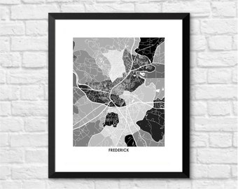 Frederick Map Print.  Choose the Colors and Size.  Maryland Local Wall Art.  MD Poster.