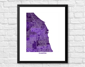 Evanston Map Print.  Choose the Colors and Size.  Perfect for your favorite Northwestern University Wildcat.  Illinois Art.