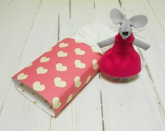 Tiny stuffed animal mouse in paper matchbox bed kawaii plushie girl nursery handmade fabric art cloth dolls miniature woodland hot pink