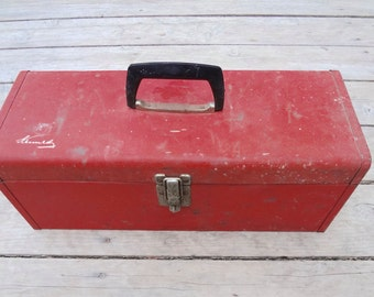 Vintage Red Metal Tool Box With Tray Distressed Rusty Functional Kennedy Brand