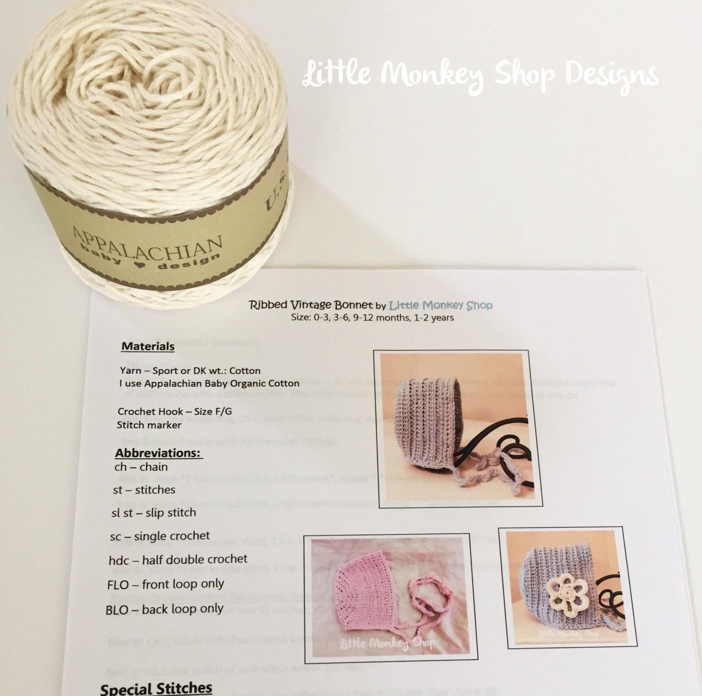 Crochet Thread Baby Bonnet Pattern : Crochet Baby Bonnet Kit Yarn Pattern Kit Baby Bonnet Kit