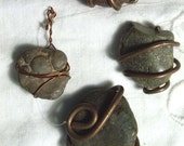 Copper Wired Natural Rock Lot of 4 Jewelry & Beading Supplies Pendant Magnet Necklace Wired Pieces Findings Crafts