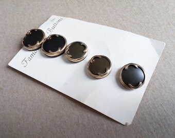 5 Brown and Gold Shank Sewing Buttons on Retro Vintage Original Card