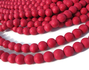 Cherry red wood round beads - Red Wooden Beads 10mm - 40pcs  (PB240A)