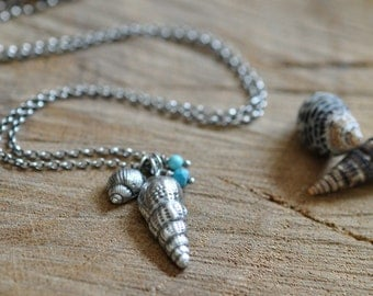 Sterling Turquoise Shell Necklace, Oxidised, Sterling Silver Gemstone Charm Necklace - Shoreline Necklace No.5