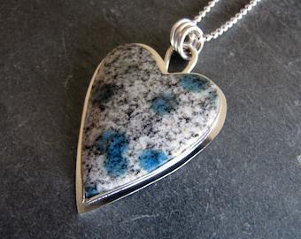 Heart Pendant of K2 Jasper and Sterling Silver