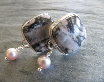 Earrings of Fossil Crinoid Stones and Pearls in Sterling Silver
