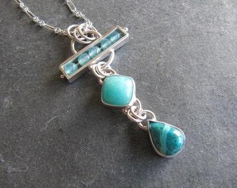 Unique Necklace of Aquamarine, Amazonite, and Shattukite in Sterling Silver