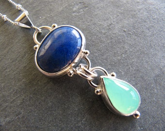 Necklace of Lapis and Chrysoprase in Sterling Silver