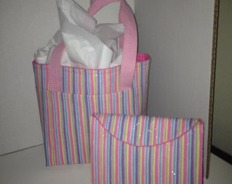 Sparkle Pink Striped Diabetic Tote and Tri-fold Set