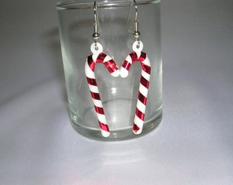 Christmas Earrings, Candy Cane Earrings, Candy Cane Ornament Earrings