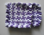 Hand Made Woven Pot Holders Mug Mats Purple and White Free Shipping