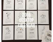 Reserved for Amanda Vander Kley - 2016 Letterpress Desktop Calendar + easel