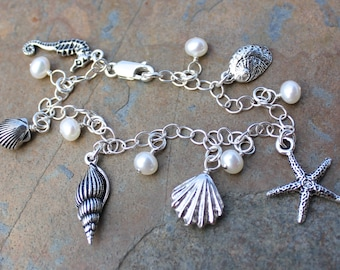 Silver Seashells and White Pearls Charm Bracelet - sterling silver chain, freshwater pearls - Free shipping USA