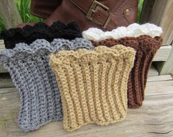 Boot Cuffs, 1 pair choose between 5 colors, grey boot cuff brown boot cuff, white boot cuff, black boot cuff, taupe boot cuff, crochet cuff