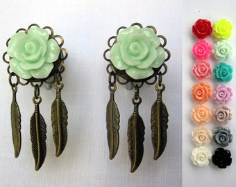 "Pair of Rose Plugs with Antique Brass Feather Charms - Handmade Gauges - 4g, 2g, 0g, 00g, 7/16"", 1/2"" (5mm, 6mm, 8mm, 10mm, 11mm, 12mm)"