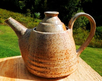 Carbon Trap Orange Shino Wood-Fired Teapot