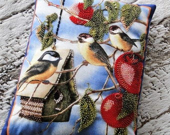 Chickadees and Red Apples Beaded Art Pillow