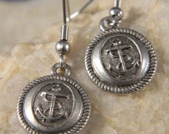 Round Anchor Disc Earrings