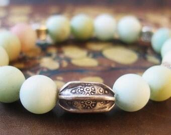 Stacking Bracelet, Amazonite Bracelet, Boho Stretch Bracelet, Beaded Gemstone Bracelet