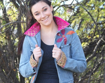 upcycled clothing, sustainable fashion, slow fashion, denim jacket . melody fair . XS - S