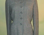40s David Dow Light Houndstooth Gray Wool Jacket Lined in Silk Wasp Waist U.S. Patented 2318295 As Is