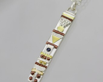 "Totem Necklace with Stone(Sapphire) (18"")"