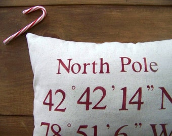 custom coordinates pillow cover - red - personalized pillow - linen - gift idea - coastal - christmas gift - north pole - GPS
