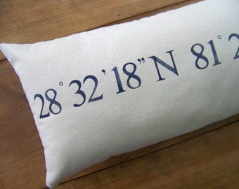 coordinates pillow cover -personalized gift - navy blue - custom - linen - gift idea - wedding gift - personalized pillow / /GPS