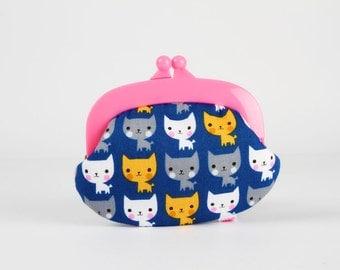 Plastic frame purse - Suzy's cats on blue - Gamaguchi small / Pink kisslock purse / Kawaii kitties fabric / yellow grey white pink