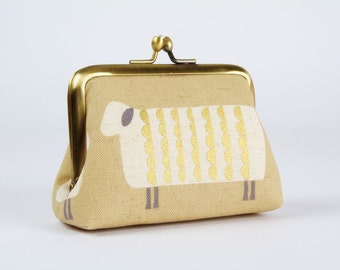 Metal frame coin purse - Sheep in gold and white - Strass purse / Card holder / Metallic gold white beige charcoal / Minimalist modern /