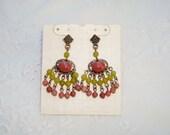 Vintage Green Pink Silver Tone Chandelier Earrings