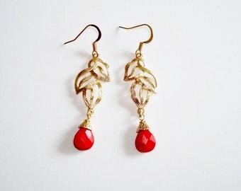 Elegant Red/Orange Tear Drop Shape Dangle Earrings
