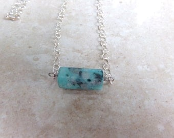 Sesame Jasper On a Sterling Chain. Mint Gray & Black