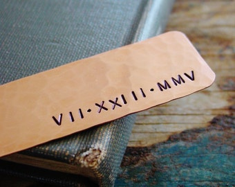 Roman Numeral Bookmark,Wedding Date Gift,Personalized Bookmark,7th Anniversary Gift,Stamped Metal,Copper Bookmark,Husband Gift,Gift for Him