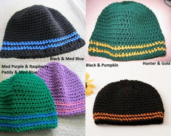 Two Stripes Beanie, Customize your Colors, Made to Order, Sports Team Hat