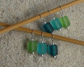 Sea Glass Knitting Stitch Markers - snag free - 10mm teal turquoise green sea glass beach glass beads - three loop sizes available