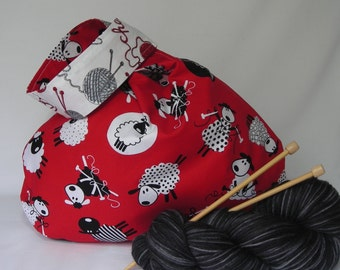 Japanese Knot Bag - Project bag - medium size - for knitting crochet - sheep and yarn print  - free knitting pattern too