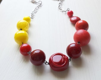 square deal necklace - vintage lucite - one of a kind - color block necklace - pink yellow red