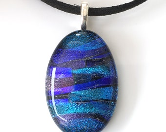 Blue Glass Necklace - Blue Oval Necklace - Necklace Pendant - Dichroic Glass Necklace - Fused Glass - Handmade Jewellery EP 316